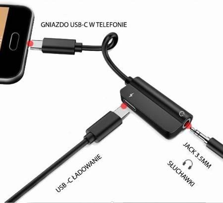 Adapter USB-C Audio Jack 3.5mm ŁADOWANIE SŁUCHAWKI