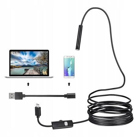 ENDOSKOP KAMERA INSPEKCYJNA ANDROID OTG USB LED 5m