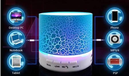 GŁOŚNIK LED PRZENOŚNY BLUETOOTH RADIO FM SD USB