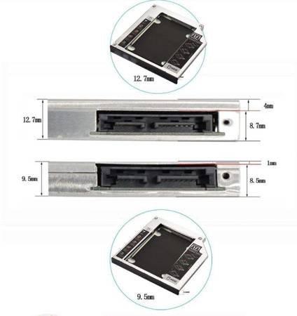 "Kieszeń na Dysk 2,5"" SATA HDD SSD 9,5mm"