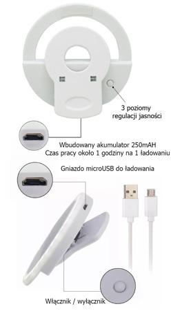 LAMPA SELFIE PIERŚCIENIOWA DO TELEFONU LED